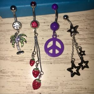 4 Stainless Steel 14G Belly Bars